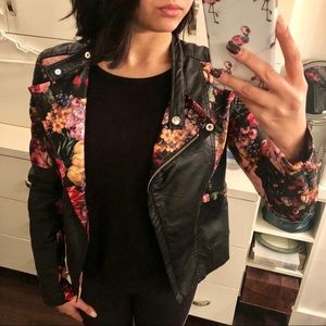 BLANK NYC Floral Print Leather Jacket